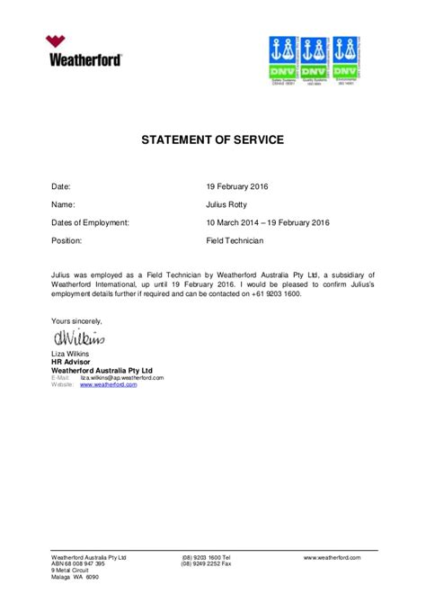 Statement Of Service Letter Exle Rotty Julius Statement Of Service