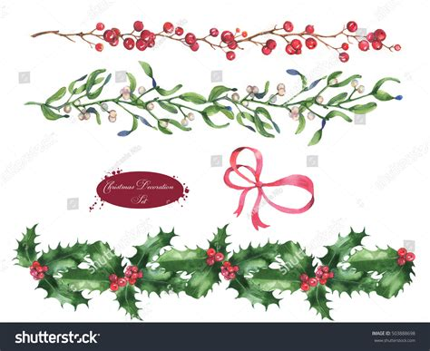 handdrawn watercolor christmas mistletoe branches leaves