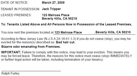 Tenant Eviction Notice New Jersey New Jersey Notice To Cease Ez Landlord Forms