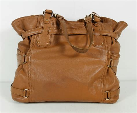 Michael Kors Leather Drawstring Satchel by Michael Kors Brown Leather Gold Tone Hardware Buckle