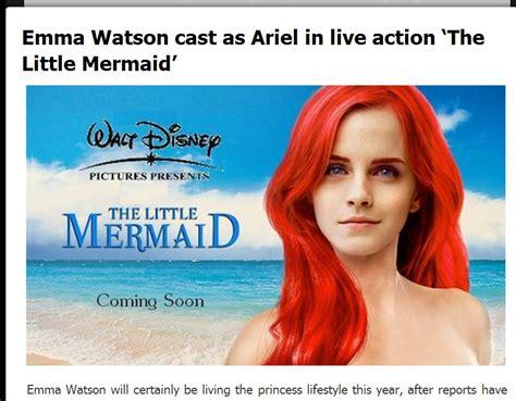 little mermaid film emma watson emma watson ariel the little mermaid poster isn t real