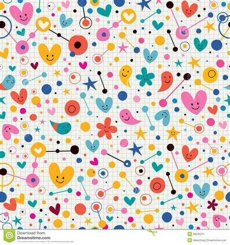 cute pattern paper funky cute cartoon retro note book paper pattern stock