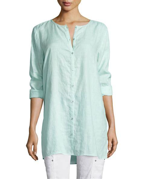 Line Longshirt eileen fisher organic linen shirt in blue bluebell lyst