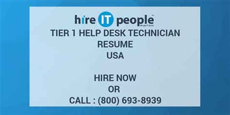 tier 1 help desk tier 1 help desk technician resume hire it people we