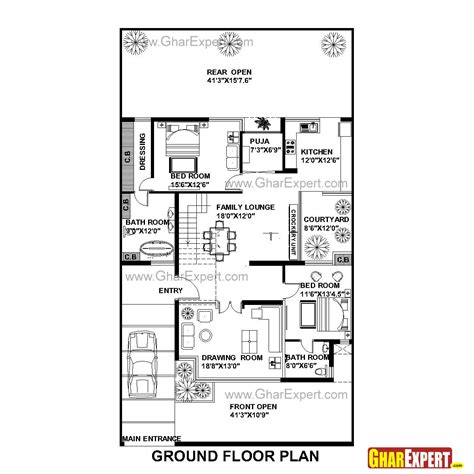 75 Square Meters To Feet by House Plan For 42 Feet By 75 Feet Plot Plot Size 350