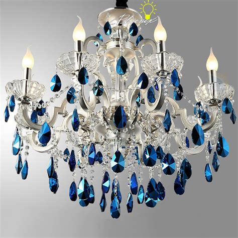 Shell Light Fixture Modern Peacock Blue Crystal Chandelier In Silver Finish