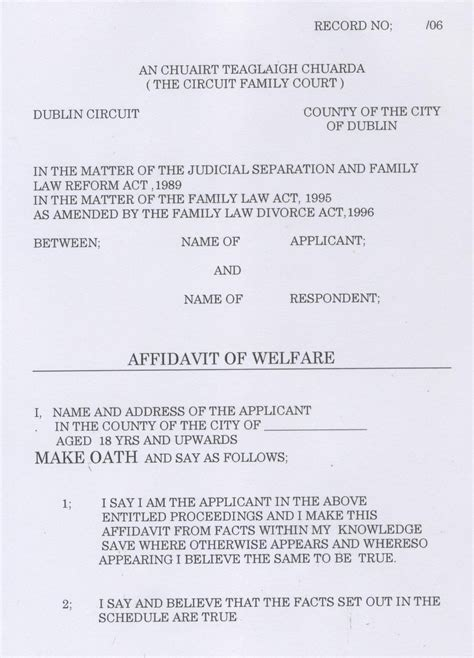 Divorce Affidavit Letter unmarried and separated parents of ireland court documents