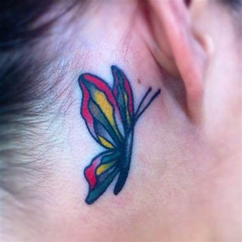 small butterfly tattoos behind the ear pretty traditional butterfly ear