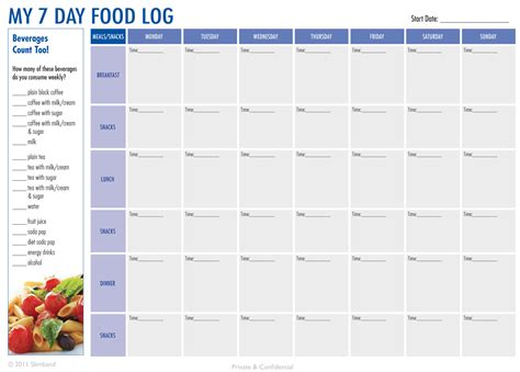 printable food journal create a 7 day food log download the pdf at http
