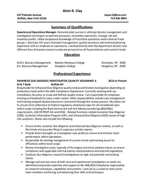 Aml Investigator Sle Resume by Clay Alvin Resume 4 15