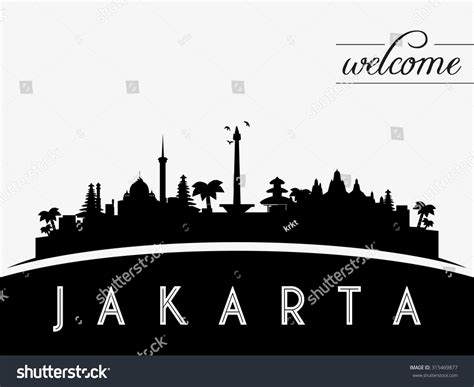 indonesia skyline silhouette black white design stock jakarta indonesia skyline silhouette black white stock