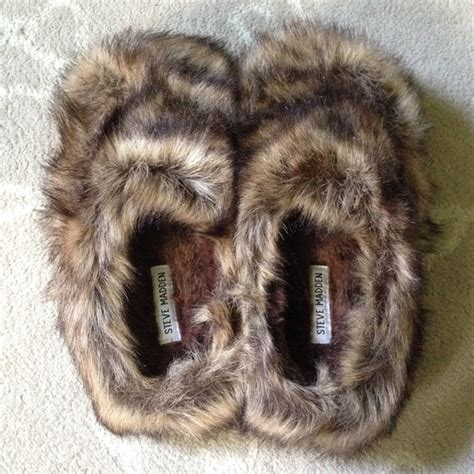 steve madden slippers fuzzy 63 steve madden shoes nwot animal print fuzzy