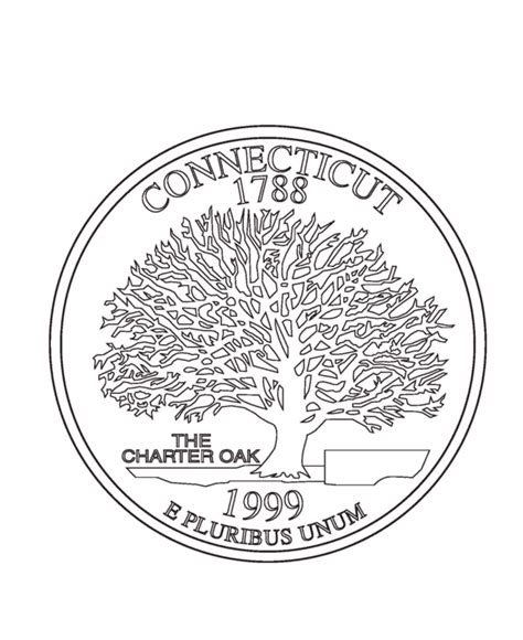 Coloring Page Quarter by Usa Printables Connecticut State Quarter Us States