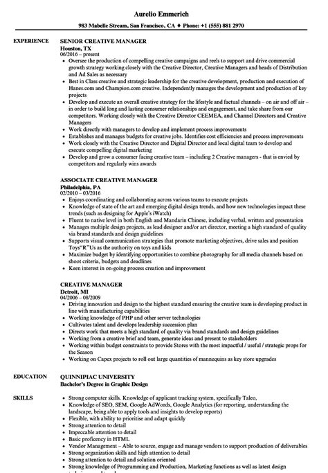 Creative Director Resume Sle by Creative Manager Resume 28 Images Creative Manager Resumes Botbuzz Co 1000 Ideas About