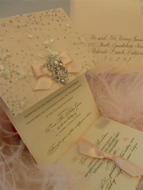 Wedding Invitations With Embelishments by Quot Sparkle Quot Wedding Invitation With Brooch Xo