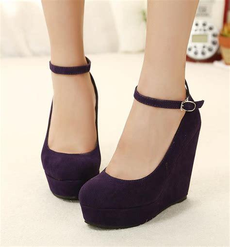 chagne colored wedding shoes fashion purple strappy wedges high heels pumps platform
