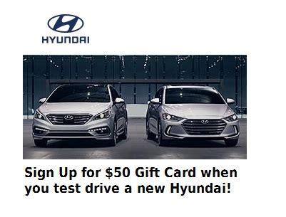 Hyundai Test Drive Gift Card - free 50 gift card for hyundai test drive