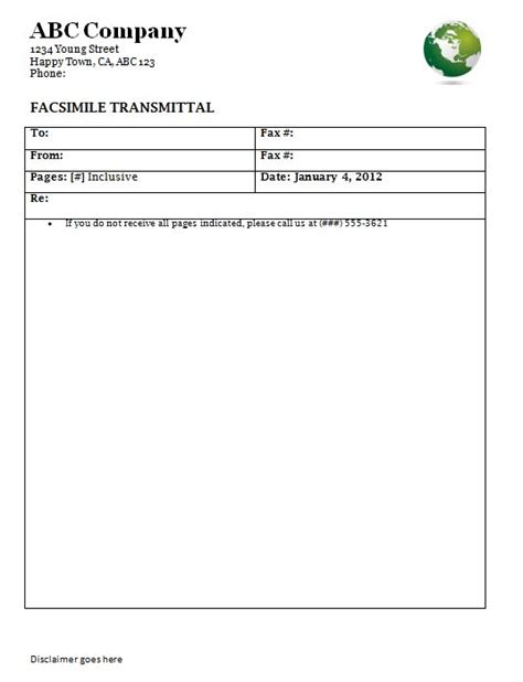 Business Disclaimer Template skill resume fax cover sheet template word personal fax
