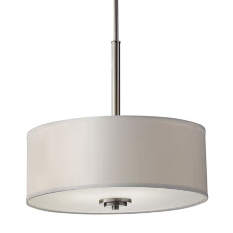 White Pendant Drum Light Modern Drum Pendant Light With White Shade In Brushed Steel Finish F2771 3bs Destination
