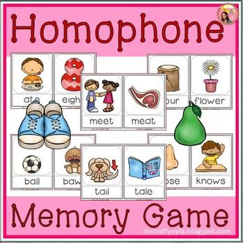 printable homophone games homophones memory game by nyla s crafty teaching tpt