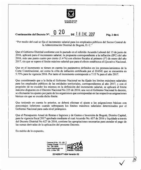 decreto aumento salarial empleados publicos 2016 decreto 020 de 2017 incremento salarial empleados