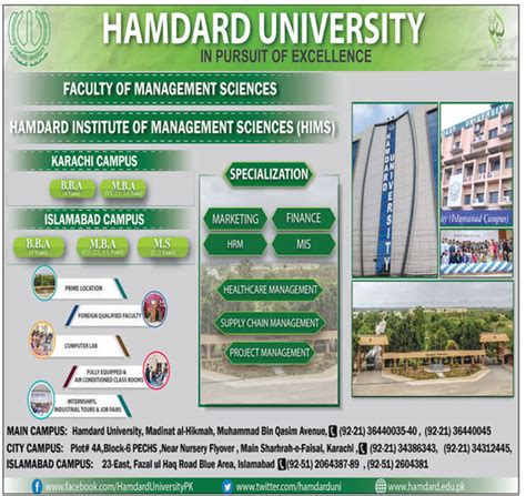 Mba In Mis Karachi by Admission Open In Hamdard Institute Of Management Sciences