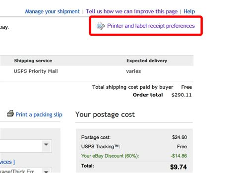 ebay delivery no printer preferences button on ebay shipping pag