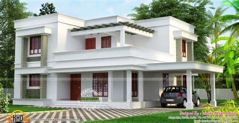 flat roof luxury home design kerala floor plans building simple but beautiful flat roof house kerala home design
