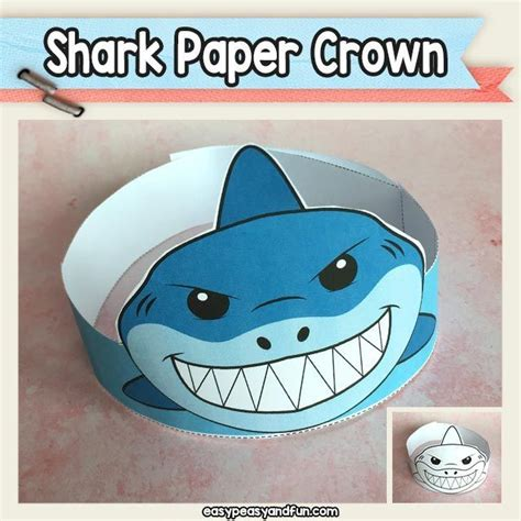 shark paper crown hat printable shark hat hat crafts