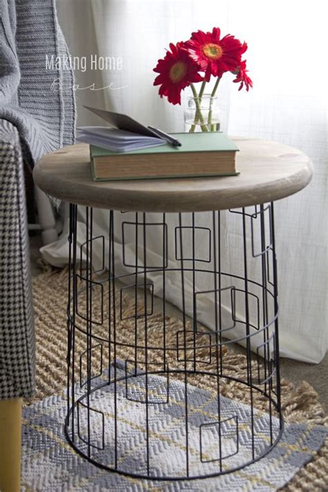 wire and wood basket side table diy accent table from a wire laundry basket wire basket