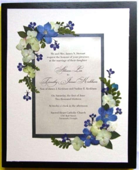 pressed flower framed wedding invitation wedding invitations keepsake with pressed flowers