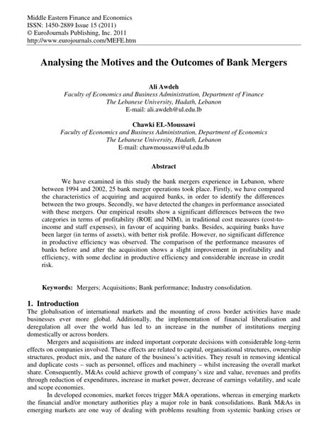 analysing  motives   outcomes  bank mergers