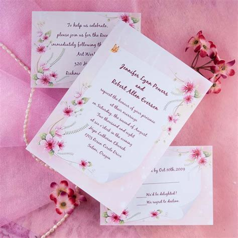 pink spring flowers and butterfly wedding invitations EWI190 as low as $0.94