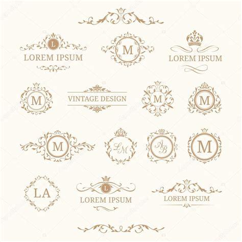 cornici eleganti serie di monogrammi floreali eleganti e bordi vettoriali