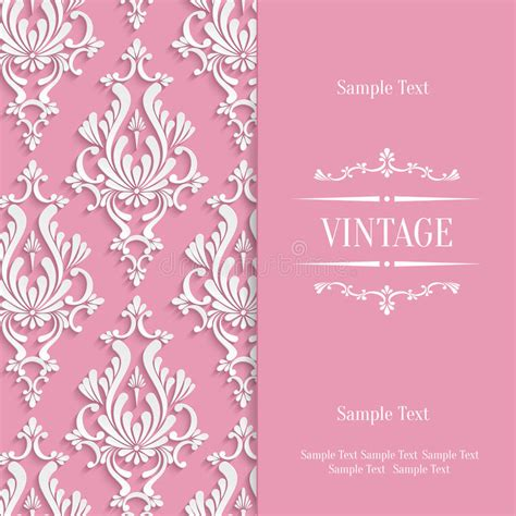3d invitation card template vector pink 3d vintage invitation card template with