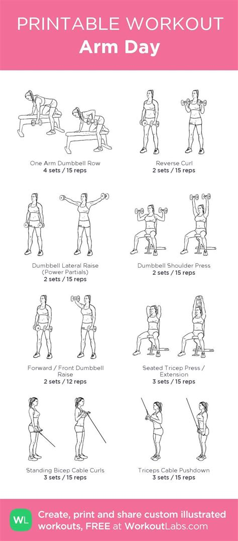printable workout plan with pictures arm day my custom printable workout by workoutlabs to