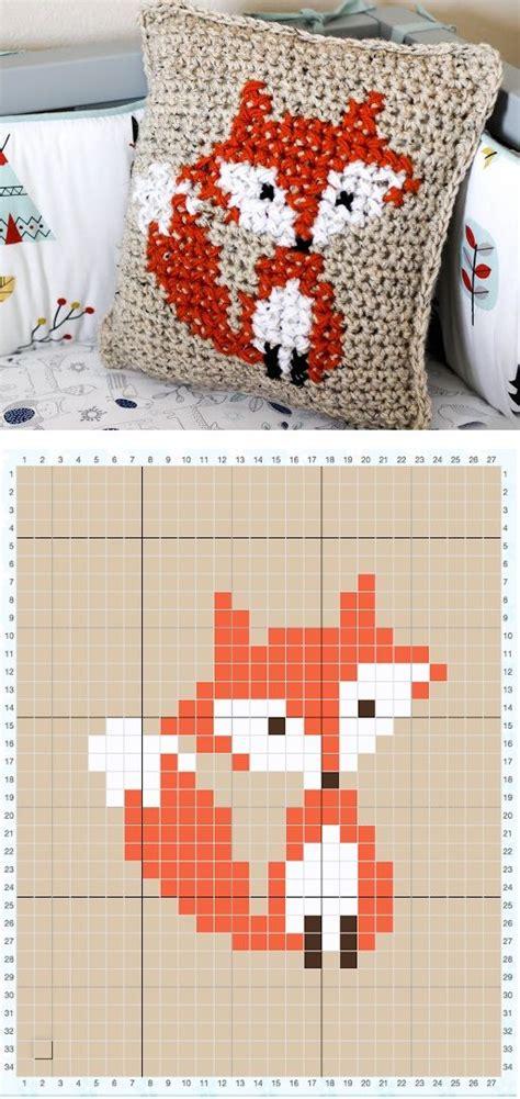 motif xs pattern mode motif de renard au point de croix ici sur du crochet