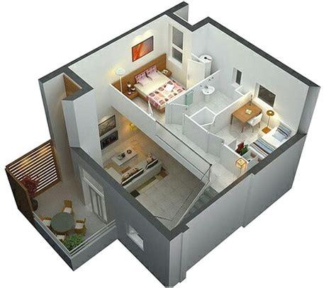 denah rumah sederhana 2 lantai 2 kamar tidur 3d desain rumah minimalist