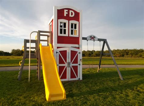 swing set with fireman pole station 3 playset features two stories by imaginethatplayhouse