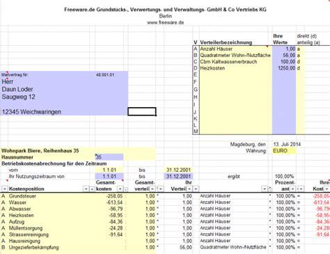 Muster Nebenkostenabrechnung Excel Kostenlos Betriebskosten Abrechnung Mit Excel Freeware De