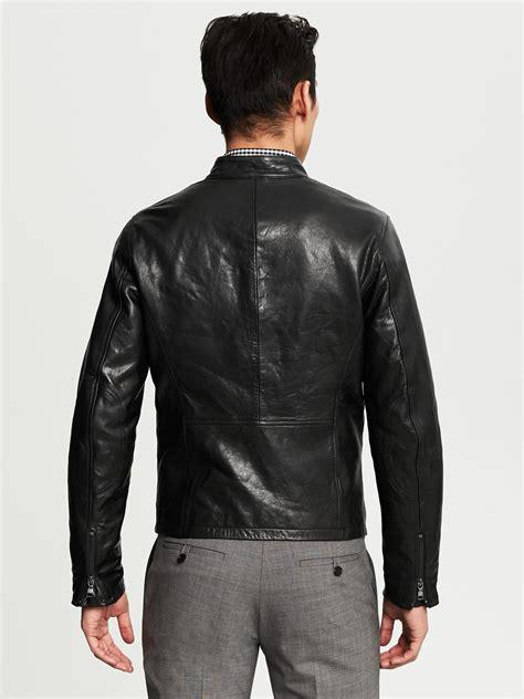 Jacket Black Bm 2 banana republic leather moto jacket in black for lyst