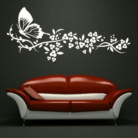 Big Wall Decals For Bedroom Butterfly Flowers Big Wall Sticker Stencil Bedroom