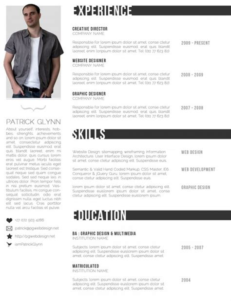 Creative Resumes Templates Free by Free Creative Resume Templates Designinstance