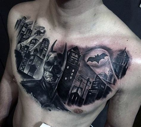 all city tattoo black ink looking batman with city