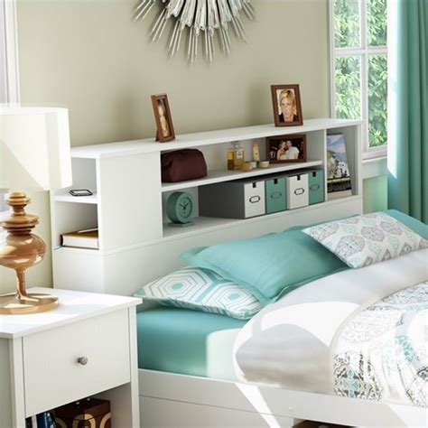 full size bed with shelf headboard south shore breakwater full queen bookcase pure white