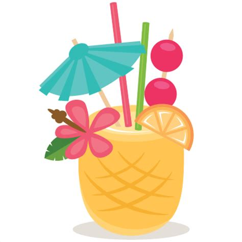 tropical cocktail silhouette pineapple drink svg scrapbook cut file cute clipart files