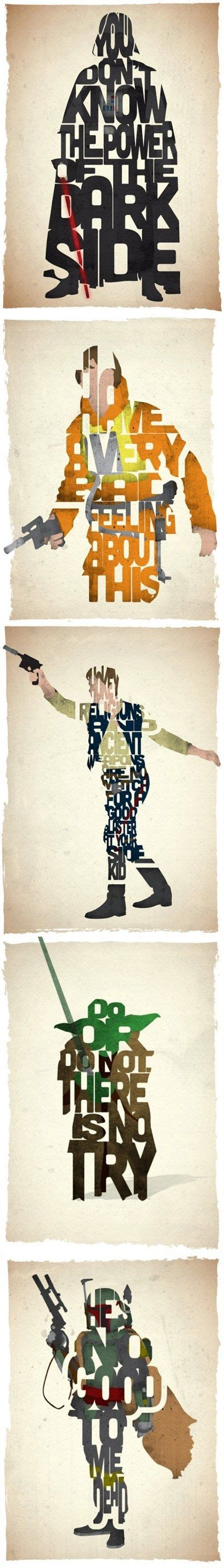 typographic star wars prints featuring iconic characters 136 best star wars programs images on pinterest star