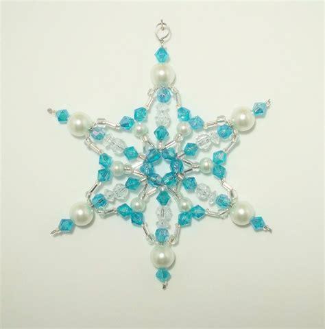 beaded snowflake ornaments beaded snowflake aquamarine and white pearl ornament