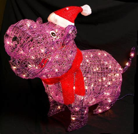 trim a home 174 36in lighted christmas acrylic purple hippo