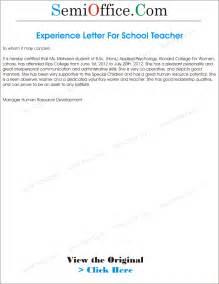 Certification Letter For Teacher experience letter for teacher from school